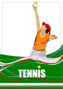 woman tennis player poster. colored vector illustration for designers - stock illustration