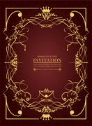 Stock Illustration of gold ornament on brown background. can be used as invitation card. vector ill