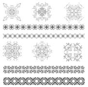 collection of ornamental rule lines in different design styles. vector - stock illustration