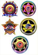 set of sheriff's badge on a white background. vector illustration - stock illustration