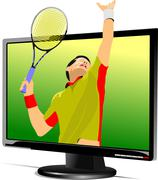 background with flat computer monitor with tennis player image. display. vect - stock illustration