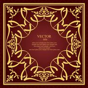 gold ornament on black background. can be used as invitation card or cover. v - stock illustration