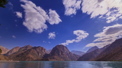 Lake in the mountains. Blurred. Zoom. IskanderKul. Time Lapse. 1280x720 Stock Footage