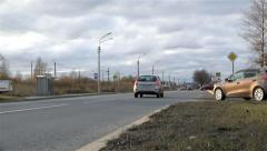 The movement of vehicles on the city roads daily Stock Footage