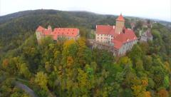 Beautiful fly aerial shot Czech Republic castle red roofs autumn Stock Footage