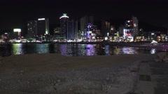 Skyline of Waterfront Gwangalli Beach Busan South Korea 4K Stock Footage