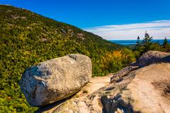 Balanced rock, at south bubble, in acadia national park, maine. Stock Photos