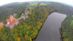Defensive fortress of 11 century castle, aerial shot fly through Stock Footage