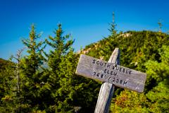Elevation marker on south bubble, in acadia national park, maine. Stock Photos