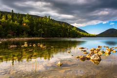 evening light at jordan pond in acadia national park, maine. - stock photo