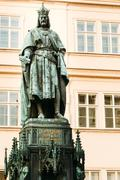 statue of the czech king charles iv in prague, czech republic - stock photo