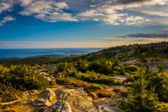 Evening view from caddilac mountain in acadia national park, maine. Stock Photos