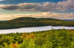 evening view of eagle lake from the road to caddilac mountain in acadia natio - stock photo