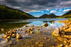Stock Photo of jordan pond and view of the bubbles in acadia national park, maine.