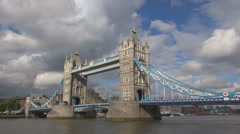 Tower Bridge River Thames beautiful sunny day symbol London landmark iconic view Stock Footage