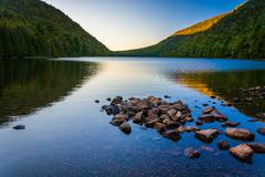 Morning reflections at bubble pond, in acadia national park, maine. Stock Photos