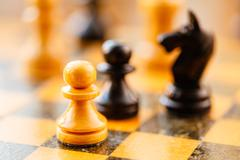 White and black chess pawns and knight standing on chessboard Stock Photos