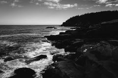 Stock Photo of otter cliffs and the atlantic ocean in acadia national park, maine.