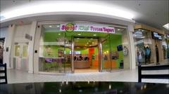 Frozen Yogurt storefront, shopping mall Stock Footage