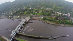 River dam aerial, old castle, small village mountains, traffic Stock Footage