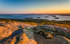 Sunrise view from caddilac mountain in acadia national park, maine. Stock Photos