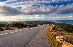 The road to caddilac mountain, in acadia national park, maine. Stock Photos