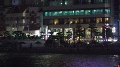 Small Fireworks Going Off On Crowded Gwangalli Beach Busan South Korea 4K Stock Footage