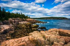 view of cliffs and the atlantic ocean in acadia national park, maine. - stock photo