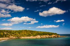 View of newport cove and rocky cliffs in acadia national park, maine. Stock Photos