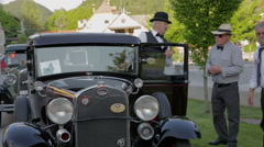 Owners of old-timer cars taking Stock Footage