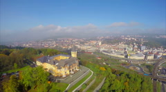Aerial shot industrial city on river, beautiful castle Vetrusi Stock Footage