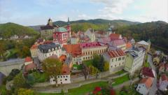 Colorful houses, medieval buildings, middle age castle aerial Stock Footage