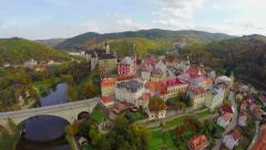 Old castle island, old centuries building moat river aerial shot Stock Footage
