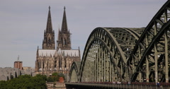 Ultra HD 4K Pedestrians Passing Rush Hour Establishing Shot Cologne Cityscape Stock Footage