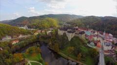 Old castle establishing aerial shot, medieval fortress color Stock Footage