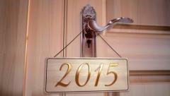 New Year 2015 Door Stock Footage