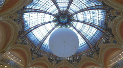 Galeries Lafayette Shopping Mall, Paris, France - stock footage