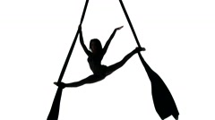 Woman dancer on aerial silk, aerial contortion, aerial ribbons, aerial fabric in Stock Footage