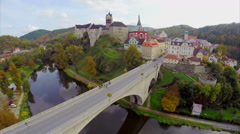 Beautiful medieval architecture red roofs, ancient castle aerial Stock Footage