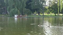 4K Boston Public Gardens Swan Boat Pond Stock Footage