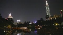 Stock Video Footage of Evening - Taipei 101 dolly shot at Sun Yat Sen lake