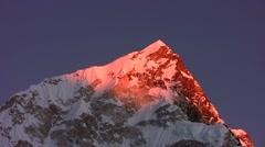 Sunset in the Himalayas. Nuptse Peak. Nepal. Time lapse. Stock Footage