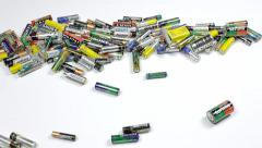 Batteries waste old pile editorial Stock Footage