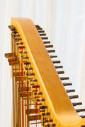 Close up of the string adjustment of a celtic harp. Stock Photos