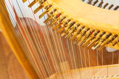 view of a celtic harp from the top. natural strings in multiple colors visibl - stock photo