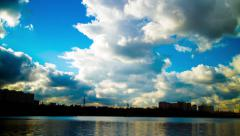clouds reflection in river time lapse - stock footage