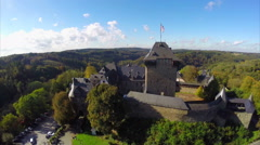 Burg Castle in Solingen, Germany aerial shot reconstructed  fort Stock Footage