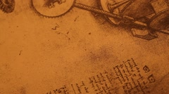 Leonardo Da Vinci's Engineering drawings - stock footage