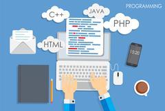Programming Coding Flat Concept Vector Illustration Stock Illustration
