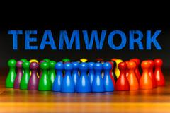 concept teamwork, organization, group multi color text - stock photo
